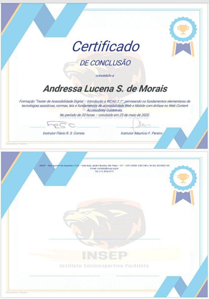 Print do certificado emitido aos participantes do curso.